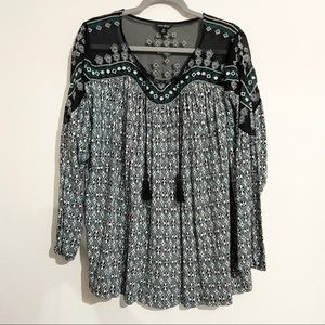 LUCKY BRAND Embroidered Printed Peasant Blouse 2X